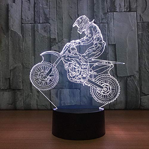 3D Remote Night Light Toy Gifts for Kids Decorative LED Lamp 3D Motocross Bike Night Lights LED USB 7 Colors Sensor Desk Lamp 3D Table Lamp as Holiday Birthday Decor Gifts XQMYGS