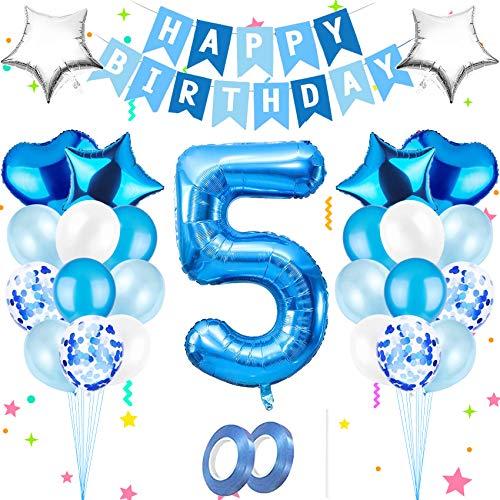 Bola ,Cumpleaños azul,Globos azules metalizados,Globo gigante de aluminio,globos de papel de feliz cumpleaños,Decoración feliz cumpleaños número,Decoración feliz cumpleaños ,Decoración del número (5)