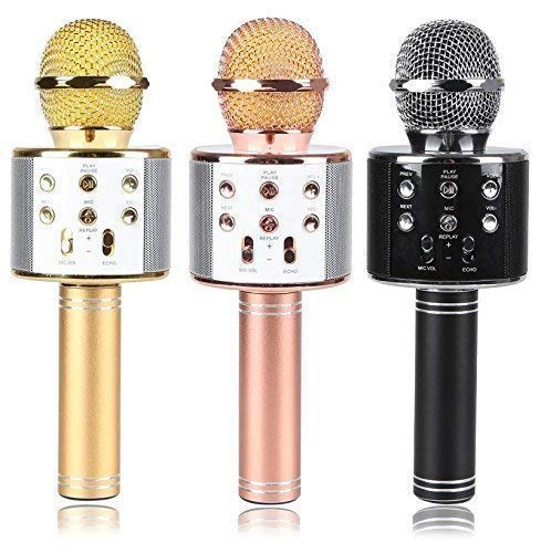 E-COSMOS Wireless Microphone for Karaoke, Portable Mic, Singing Microphone/Mic and Bluetooth Speaker Compatible with iPhone/iPad/iPod/and All Android Smartphones (Random Colors)