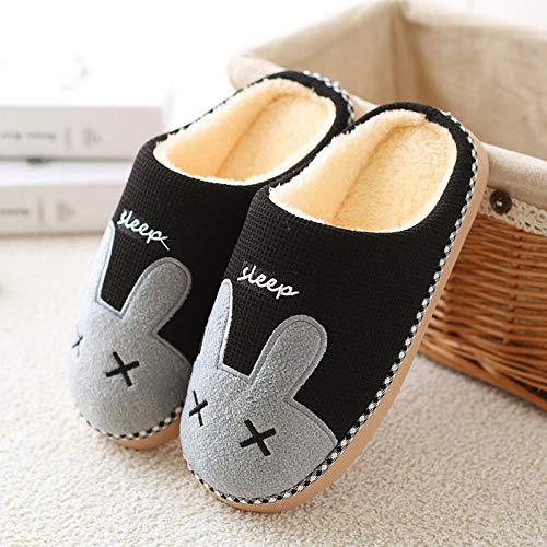 Zapatillas Casa Hombre Mujer Invierno Zapatillas De Mujer Cálidas para Amantes De La Felpa, Zapatillas Antideslizantes para El Suelo para El Hogar, Zapatos Suaves para Interiores, para Mujer, Neg
