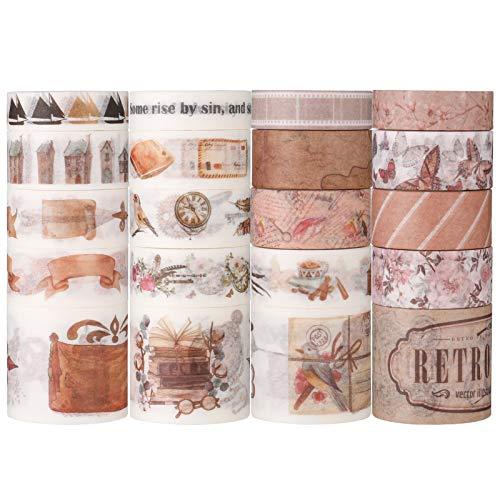 Firtink 20 Rollen Washi Masking Tape Set Multi-Pattern Dekoratives Klebeband Kollektion für Kunst und Heimwerker Verschönern Journals Planer Scrapbooking