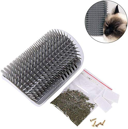 ASCbro Cat Self Groomer Wall Corner Massage Tool Grooming Comb Toy with Catnip Perfect for Cat with Long/Short Fur (Grey)