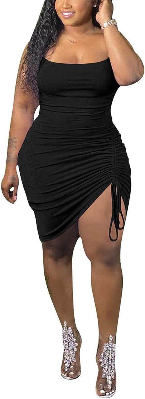 Halfword Womens Plus Size Sexy Ruched Drawstring Summer Spaghetti Strap Sleeveless Party Midi Dress