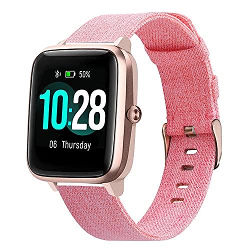 WATORY Ersatz für ID205L Armband, Gewebtes Nylon Uhrenarmband Edelstahl Verschluss Quick Release Armband Sport Ersatzband für ID205L/ willful SW021/ YAMAY SW021/LIFEBEE ID205L Smartwatch, Rosa