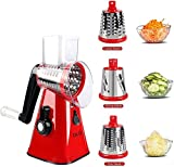 Multifunctional Vegetable and Fruit Cutting Machine, Rotating Drum Cheese Grater with 3 Stainless Steel Revolving Blades, Manual and Safe Milling, Slicer (RED)