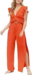 Womens 2 Pieces Outfits Deep V Neck Crop Top Side Slit Drawstring Wide Leg Pants Set Jumpsuits