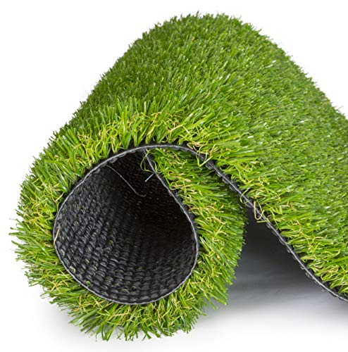 SavvyGrow Artificial Grass for Dogs Astroturf-Rug - Premium 4 Tone Synthetic Green Astro Turf, Easy to Clean with Drain Holes - Soft Fake Turfs for Dog, Cats, Patios – Non Toxic 3.3 x 5 ft Door Mat