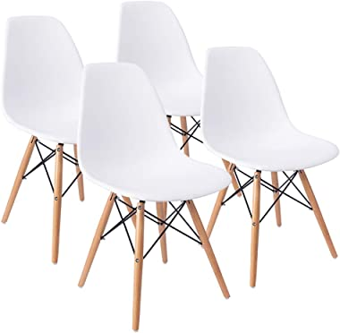 Furmax Pre Assembled Style Mid Century Modern DSW Shell Lounge Plastic Kitchen, Dining, Bedroom, Living Room Side Chairs Set