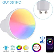 Honeytecs WiFi Intelligent Light Bulb RGBW 6W LEDs Dimmable Lamp Cup Compatible with-Alexa&-Home Remote