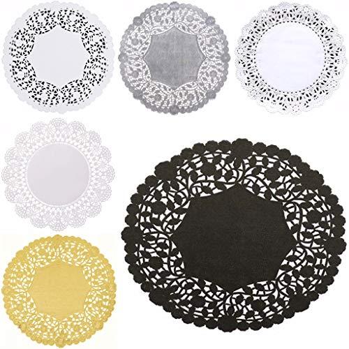 Combinatiepakket 6-inch kleedjes - Wit zwart papieren kant en goudzilver wegwerp placemats van The Baker Celebrations; Geassorteerde stijl (30)
