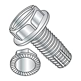 Steel Thread Cutting Screw, Zinc Plated Finish, Serrated Hex Washer Head, Slotted Drive, Type F, 3/8'-16...