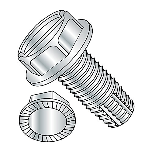 Steel Thread Cutting Screw, Zinc Plated Finish, Serrated Hex Washer Head, Slotted Drive, Type F, 1/4