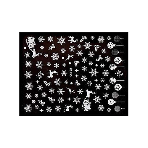 Demiawaking Adesivi per Unghie Natalizi Fiocchi di Neve Babbo Natale Albero di Natale Corona Fai da te Nail Art Decorazioni Impermeabili Adesivi Unghie Nail Art Decalcomanie (Stile 6)