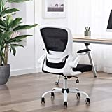 FALUODA Home Office Chair Height Adjustable Upholstered Mesh Swivel Computer Office Ergonomic Desk Chair with Lumbar Support (White, 03)