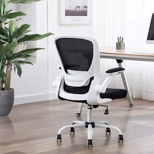 FALUODA Home Office Chair Height Adjustable Upholstered Mesh Swivel Computer Office Ergonomic Desk Chair with Lumbar Support (White, 01)