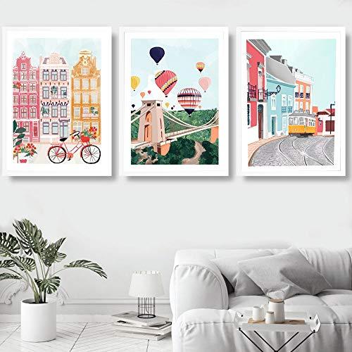 yiyitop Marruecos París Irlanda Ciudad Arte de la Pared Pintura en Lienzo Carteles e Impresiones nórdicos Sala de Estar Mural de Sala de Estar 40 * 60 cm * 3 Piezas (sin Marco)
