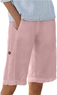 FRPE Womens Casual Cotton Linen Elastic Waist Solid Color Loose Fit Shorts