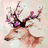 Pintura al óleo Ciervos Sika DIY Digital Pintura al óleo Pura Pintada a Mano núcleo Dormitorio Dibujos Animados sin Marco * Ciervos Sika 40 * 50 cm sin Marco