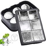 Eiswürfelform, QTTO Eiskugelform, Eiswürfelform mit Deckel Ice Cube Tray, 2 Stück Eiswürfelbehälter mit Deckel, Kugel & Quadrat Eiswürfelform Silikon für Whisky, Cocktails, Schokolade, Süßigkeiten
