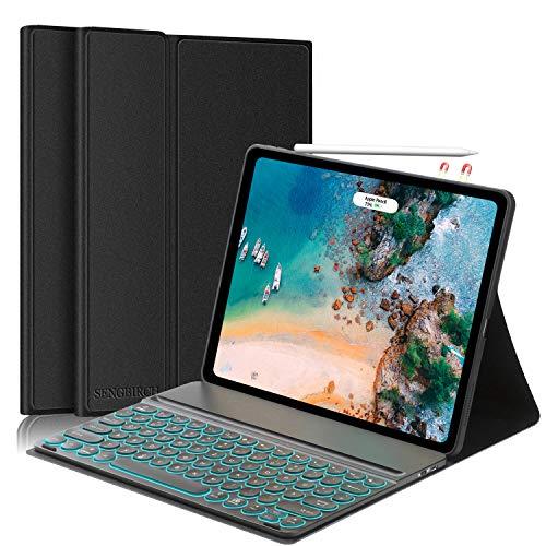 SENGBIRCH iPad Pro 12.9 (4th & 3rd Gen.) Tastatur Hülle, iPad Tastatur mit Robust Schutzhülle (Deutsche Beleuchtet Tastatur, Unterstützung Pencil Ladung) für iPad Pro 12.9 2020 & 2018 - Schwarz