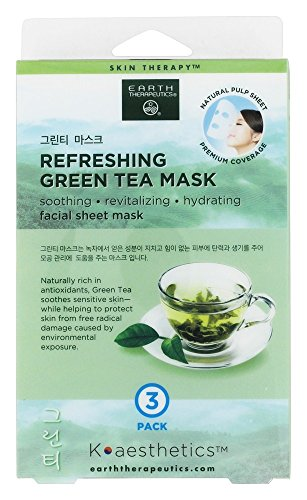 Earth Therapeutics - Refreshing Green Tea Facial Sheet Mask - 3 Count