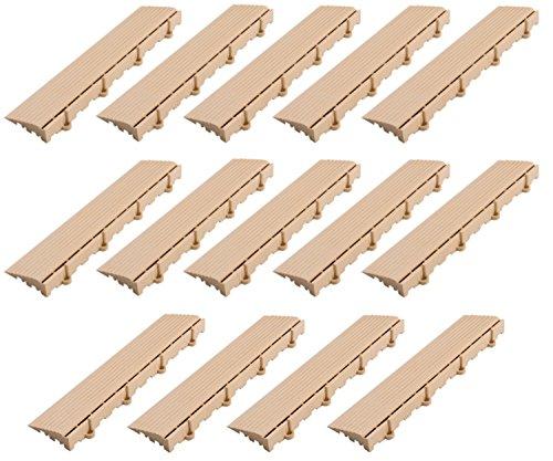 BodenMax Pannelli laterali SOLO per piastrelle BodenMax a incastro  Connettore Femminile   Beige   7,5 x 30 x 2,4 cm   Set da 14 pezzi = 4,2 m