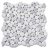 Stone Center Online Carrara Mix Bardiglio Grey Marble River Rocks Pebble Stone Mosaic Tile Tumbled for Kitchen Backsplash Bathroom Flooring Shower Surround Dining Room Entryway Corrido Spa (1 Sheet)