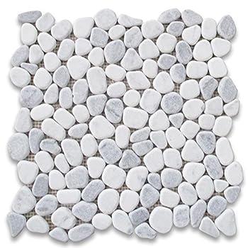 Stone Center Online Carrara Mix Bardiglio Grey Marble River Rocks Pebble Stone Mosaic Tile Tumbled for Kitchen Backsplash Bathroom Flooring Shower Surround Dining Room Entryway Corrido Spa  1 Sheet