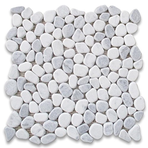 Carrara Mix Bardiglio Grey Marble River Rocks Pebble Stone Mosaic Tile Tumbled