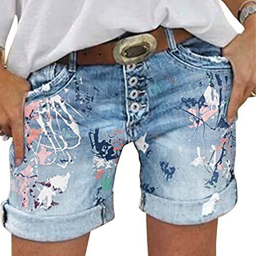 Shujin Damen Jeans Bermuda Shorts mit Knopfleiste by Boyfriend Look tiefer Schritt Jeansbermuda in Aged-Waschung Blumen Drucken Denim Shorts Ohne Gürtel