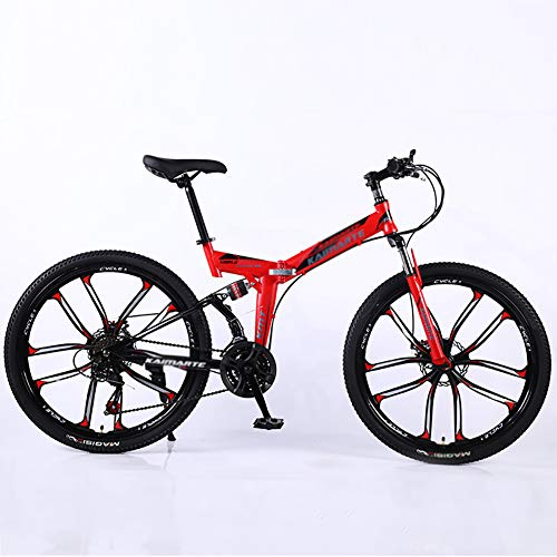 Mountain Bikes,26 Inch Big Wheels Hardtail Mountain Bike,Overdrive Aluminum Frame Trail Mountain Bike,Men Women Bicycle Red 26',21-Speed