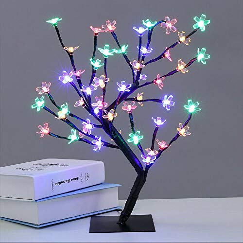 48 LED Tree Lights 18 Inch / 45cm Cherry Blossom Tree Light up Battery Operated LED Lighted Flower Bonsai Trees for Home, Festival, Party, Christmas, Night Light (Colorful)
