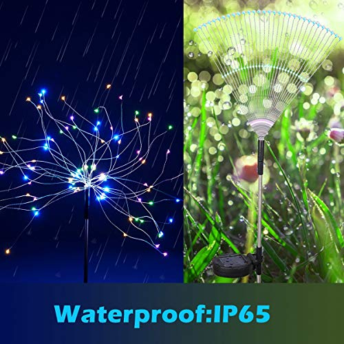 Outdoor Solar Garden Lights,105 LED Solar Powered Decorative Stake Landscape Light DIY Flowers Fireworks Stars for Walkway Pathway Backyard Christmas Party Decor 2 Pack(Mulit-Color)