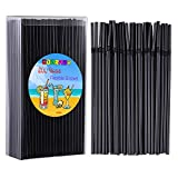 Cooraby 200 Pieces Black Disposable Straws Flexible Plastic Straws 5 mm x 210 mm Drinking Straws for Kids and Adults