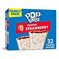 Kellogg's Pop-Tarts Frosted Strawberry Toaster Pastries, Fun Breakfast for Kids, Family Pack, (32 Toaster Pastries), 54.1 oz