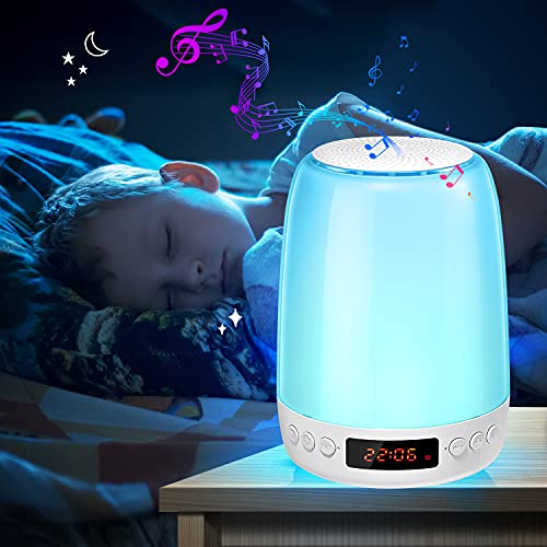 Baby Night Light for Kids Room,Kids Night Light with White Noise,Color Changing Nightlights for Nursery Adults Kids Sleep,Touch Rechargeable Nursery Lamp with Bluetooth Speaker&Alarm Clock for Bedroom