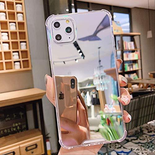 Funda de teléfono con espejo de maquillaje transparente de lujo para iphone 11 12 Pro XS MAX Mini XR X 7 8 6S 6 Plus SE 2020 Funda de silicona suave a prueba de golpes para iPhone 12Pro MAX Silver