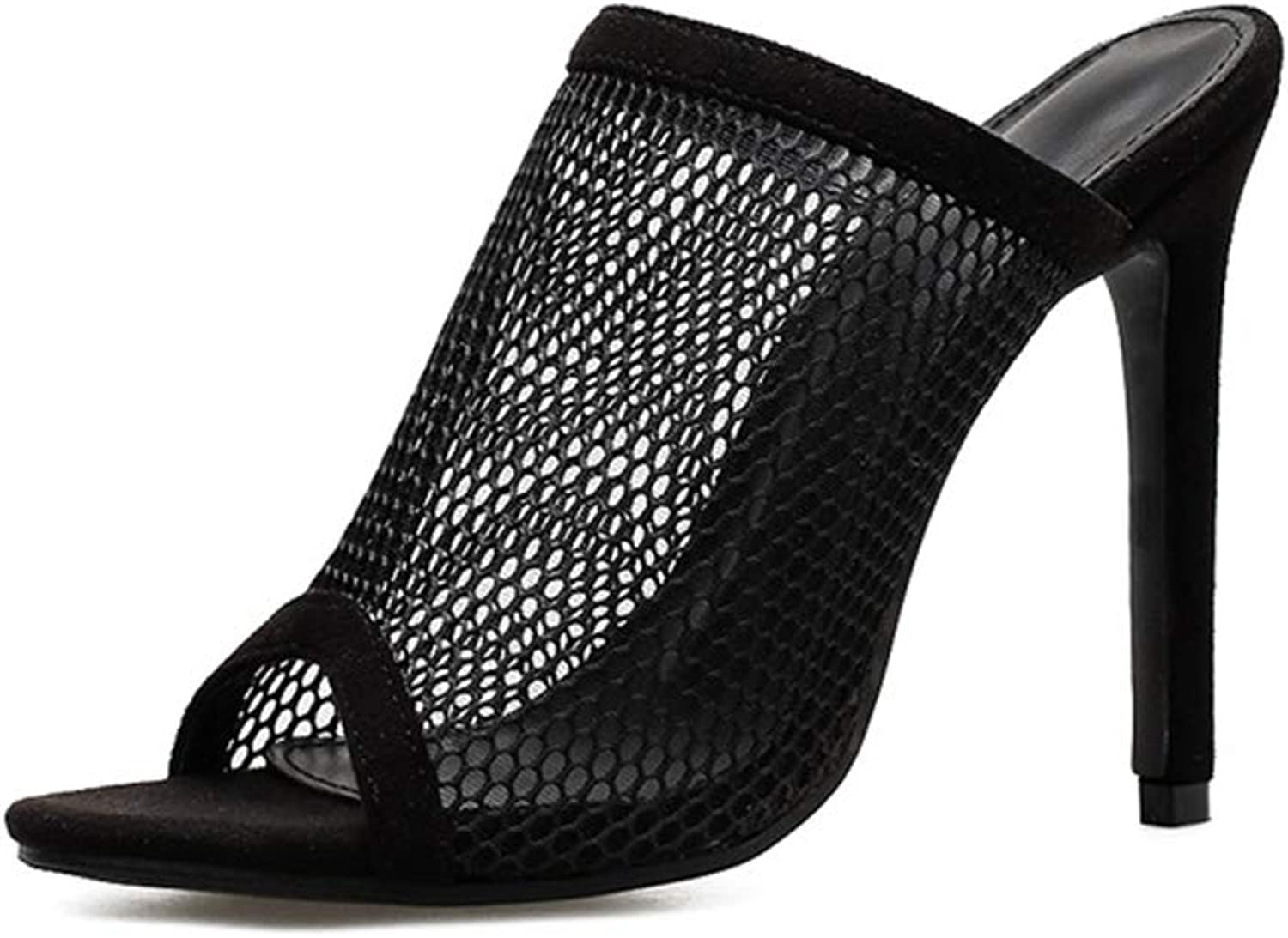 Womens High Heeled Sandals Mesh Hollow Fish Mouth Slippers