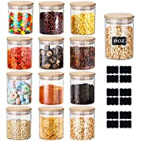 12-Pack Yibaodan 6oz Spice Jars with Bamboo Airtight Lids and Labels