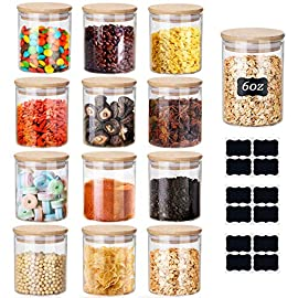 12 Set Glass Jars Set 150ml ,Yibaodan Upgrade Spice Jars with Bamboo Airtight Lids and Labels, 6oz Small Food Cereal…