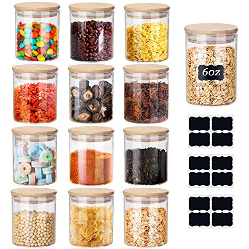 Glass Jars Set 150ml ,Yibaodan 12 Set Upgrade Spice Jars with Bamboo...