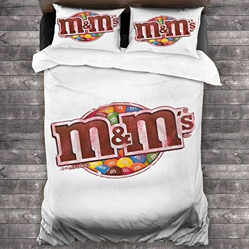"""M&M'S Candy Bed Duvet Cover - Comforter Set, 3-Piece Bedding Set, 86""""X70"""" Set with 1 Quilt Set and 2 Pillowcase -Soft and Comfortable"""