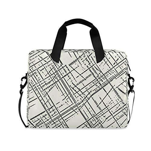 XIXIXIKO - Bolsa para portátil con diseño de rayas geométricas para mujeres y hombres con correa desmontable para viajes de trabajo, negocios, iPad y MacBook