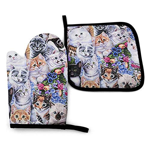 Lawenp Cats Kittens Guantes para Horno, Guantes aislados para microondas, Guantes Resistentes a Altas temperaturas, Antideslizantes, Anti escaldaduras, Ideales para manipular Alimentos Calientes, COC