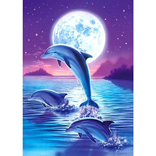 MXJSUA Pintura de Diamante DIY para Adultos Pintura de Taladro Cuadrado Completo con Kits de Diamantes Arte 5D para decoración de Pared Delfín Saltando Azul 40x50cm