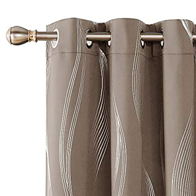 Deconovo Foil Print Wave Striped Blackout Curtains Thermal Insulated Window Treatment Grommet Curtain for Living Room 2 Panels Khaki 42x63 Inch