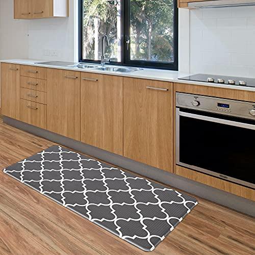 GELIVABLE Anti Fatigue Kitchen Mat, 1/2 Inch Thick Waterproof and Non-Slip Kitchen Rug, PVC Ergonomic Comfort Floor Mat for Kitchen, Laundry, Bathroom, Office etc. (17.5'x29.3', Dark Gray)