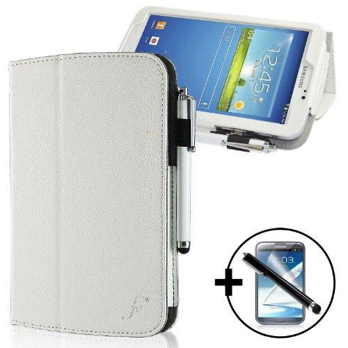 ForeFront Hülles® - Kunstleder-Hülle mit Ständer Hülle für Samsung Galaxy Tab 3 8.0 8GB 3G + WiFi - mit magnetischer Auto-Sleep-Wake-Funktion - inkl. Bedienstift und Bildschirmschutz - WEIß