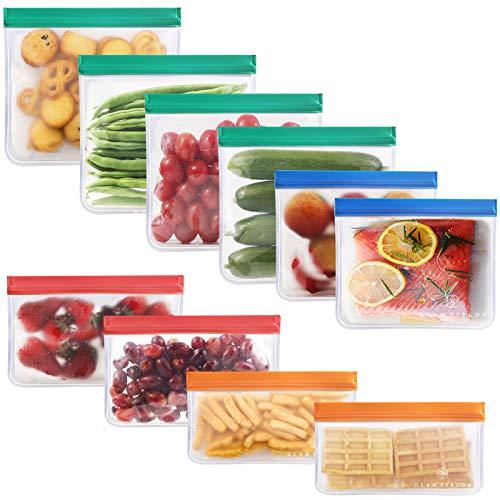 GLAMFIELDS 再利用可能な食品ストレージバッグ ? 6パック再利用可能なスナックバッグ 4パック再利用可能なサンドイッチバッグ 冷凍庫ジップロックランチバッグ 食品 マリネ 肉 果物