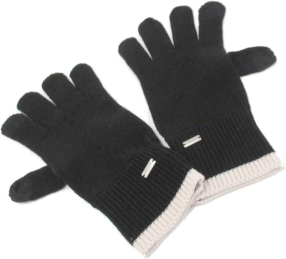 Coach Color Block Knit Gloves Black Cream F76490